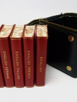 Five leather midget dictionaries in leather dice box