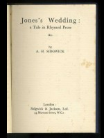 Jones's Wedding, A Tale in Rhymed Prose