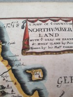 Hand-coloured map of Northumberland