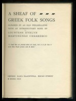 A Sheaf of Greek Folk Songs